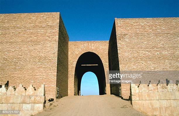 Maski Gate, Nineveh, Iraq, 1977. Reconstruction built in the 1960s of one of the great gates of the ancient Assyrian city of Nineveh.