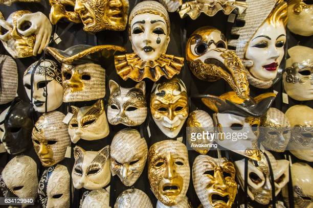 Masks are displayed at Ca' Del Sol on February 7 2017 in Venice ItalyArtisans masks and costume makers are getting ready ahead of the 2017 Venice...