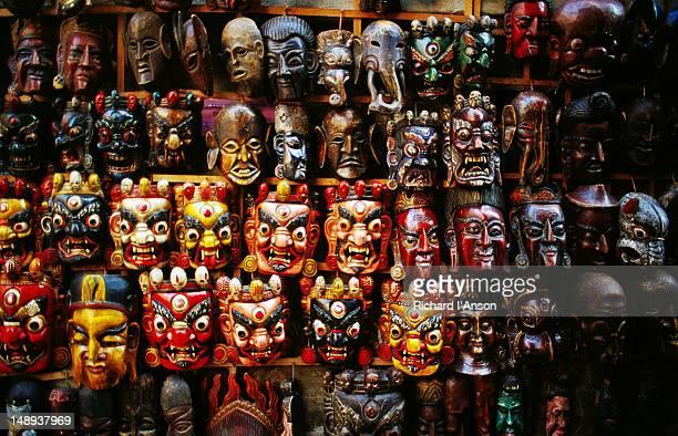 Masks for sale at street stall in Thamel.