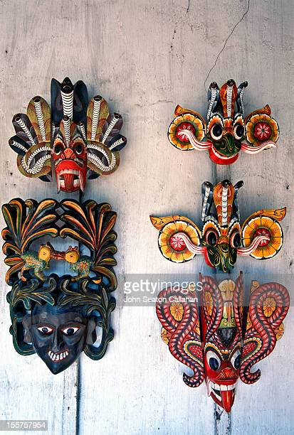 masks for sale in handicraft shop - sri lankan culture stock pictures, royalty-free photos & images