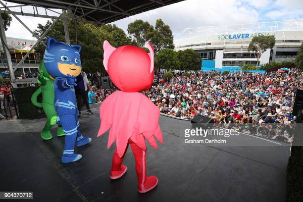 Masks perform on stage during Kids Tennis Day ahead of the 2018 Australian Open at Melbourne Park on January 13 2018 in Melbourne Australia