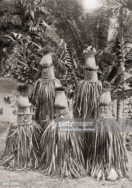 Masks possessing magical qualities worn by people from a district of New Britain Bismarck Archipelago of Papua New Guinea After a 19th century...