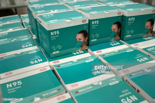 N95 masks sit stored in a medical supply area at the Austin Convention Center on August 07 2020 in Austin Texas The convention center was prepared...