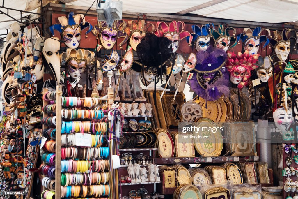 Masks to sell on the street, Florence Italy : Stock Photo