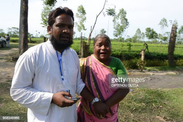 Maslim Hussain Indian candidate of TMC party looks on after clashes between rulling Trinamul Congress and Bharatiya Janata Party at Daspara village...