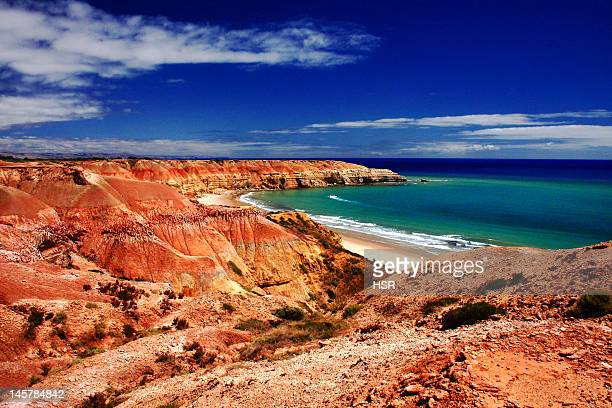 maslin beach cliffs and bay - south australia stock photos and pictures
