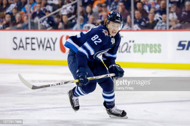 Mason Appleton of the Winnipeg Jets follows the play down the ice during third period action against the Edmonton Oilers at the Bell MTS Place on...