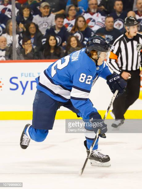 Mason Appleton of the Winnipeg Jets follows the play down the ice during first period action against the St Louis Blues at the Bell MTS Place on...