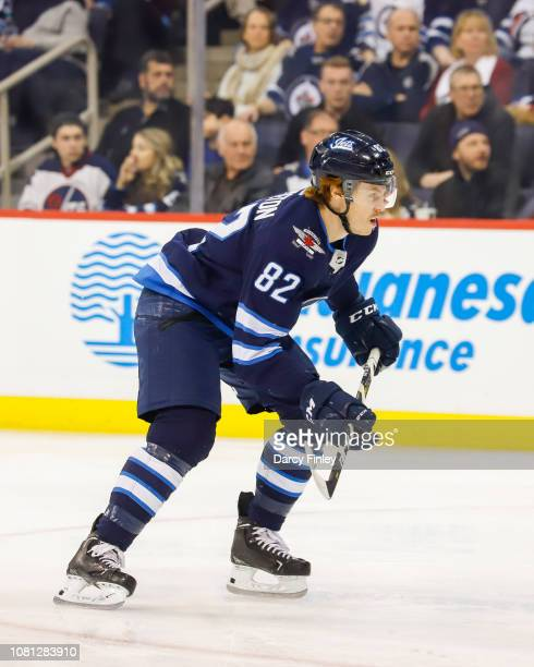 Mason Appleton of the Winnipeg Jets follows the play down the ice during third period action against the Philadelphia Flyers at the Bell MTS Place on...
