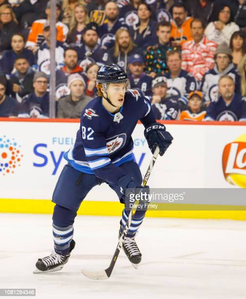 Mason Appleton of the Winnipeg Jets keeps an eye on the play during third period action against the Philadelphia Flyers at the Bell MTS Place on...
