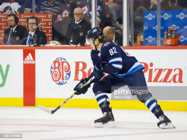Mason Appleton of the Winnipeg Jets keeps an eye on the play during first period action against the Philadelphia Flyers at the Bell MTS Place on...