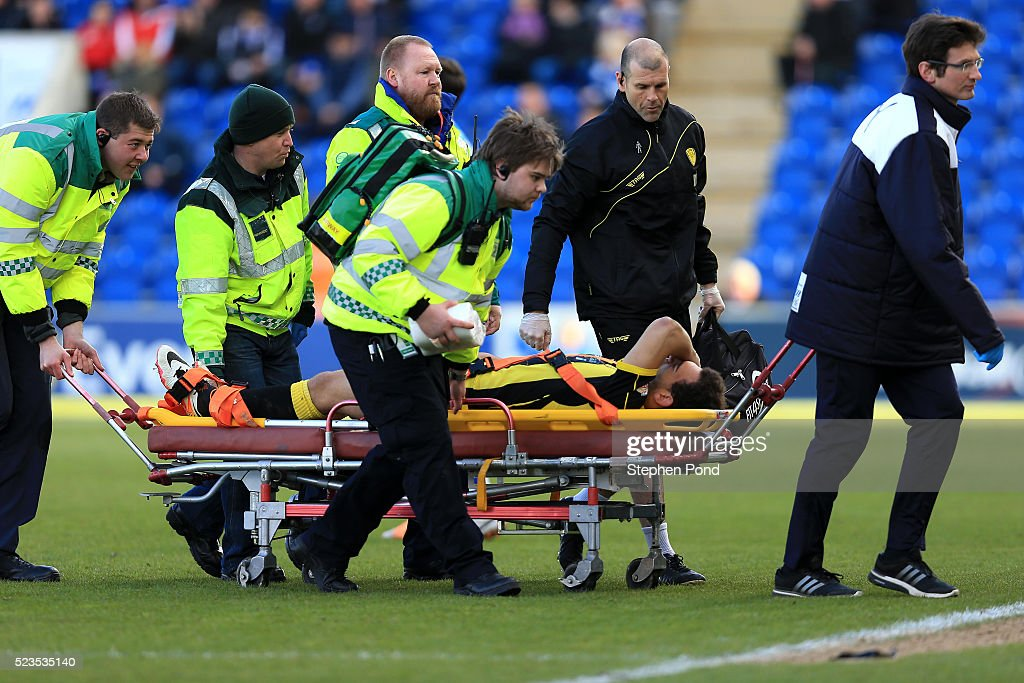 Mason Bennett of Burton Albion leaves the field on a stretcher during the Sky Bet League One match between Colchester United and Burton Albion at Colchester Community Stadium on April 23, 2016 in Colchester, England.
