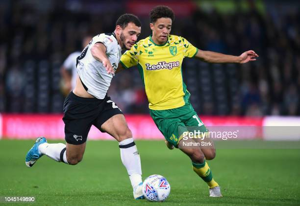 Mason Bennett of Derby County and Jamal Lewis of Norwich in action during the Sky Bet Championship match between Derby County and Norwich City at...