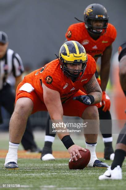 Mason Cole of the North team guards during the Reese's Senior Bowl at LaddPeebles Stadium on January 27 2018 in Mobile Alabama