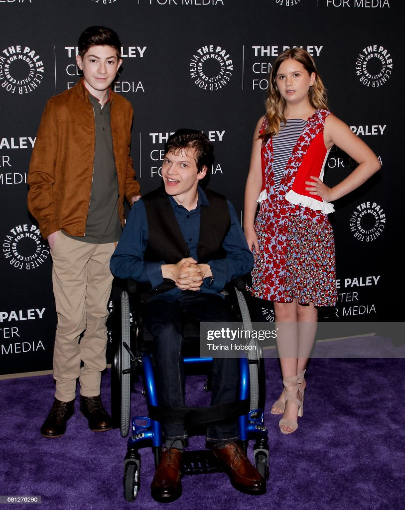 Mason Cook, Micah Fowler and Kyla Kenedy attend the 2017 PaleyLive LA Spring Season, an evening with 'Speechless' at The Paley Center for Media on May 9, 2017 in Beverly Hills, California.