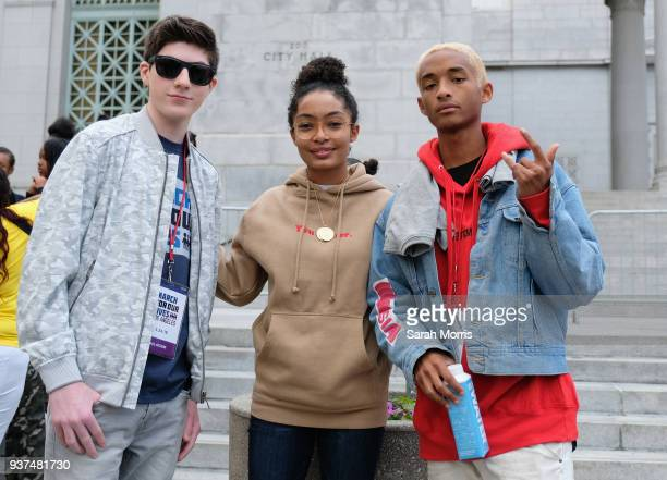 Mason Cook Yara Shahidi and Jaden Smith participate in the March for Our Lives Los Angeles rally on March 24 2018 in Los Angeles California More than...