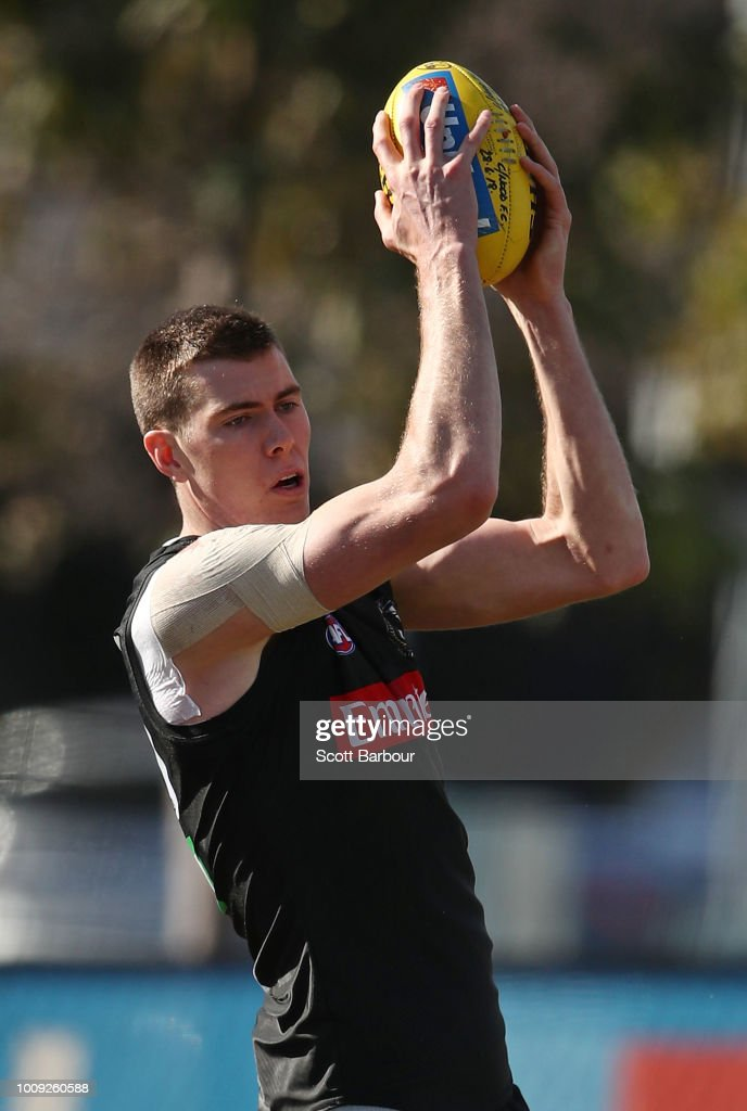 Mason Cox of the Magpies competes for the ball during a Collingwood magpies AFL media session at the Holden Centre on August 2, 2018 in Melbourne, Australia.