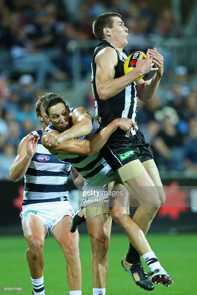 Mason Cox of the Magpies marks infront of Harry Taylor of the Cats during the 2016 NAB Challenge match between the Geelong Cats and the Collingwood Magpies at Simonds Stadium on February 26, 2016 in Geelong, Australia.