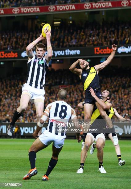 Mason Cox of the Magpies marks the ball against Shane Edwards and Alex Rance of the Tigers during the AFL Preliminary Final match between the...