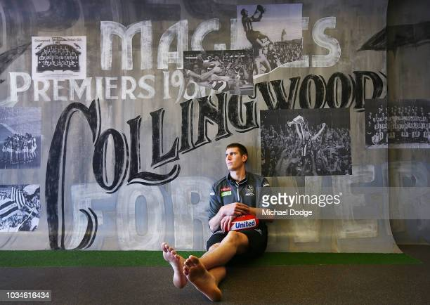 Mason Cox of the Magpies poses during a Collingwood Magpies AFL media oportunity at Holden Centre on September 17 2018 in Melbourne Australia