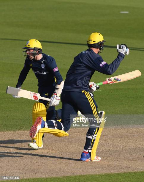 Mason Crane and Reece Topley celebrate as they complete the winning run during the Royal London OneDay Cup match between Sussex and Hampshire at The...