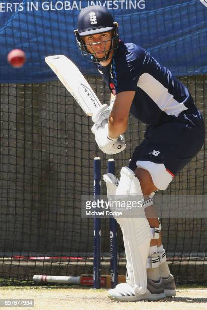 Mason Crane bats during an England nets session at the Melbourne Cricket Ground on December 24 2017 in Melbourne Australia