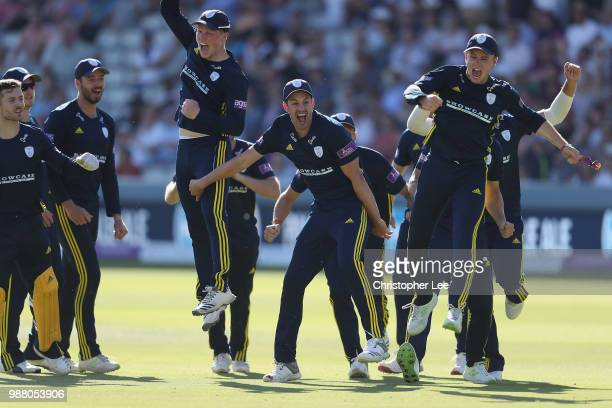 Mason Crane celebrates running out Alex Blake of Kent with his team mates during the Royal London OneDay Cup Final match between Kent and Hampshire...