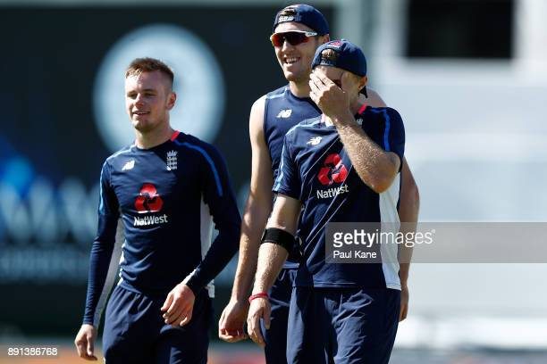 Mason Crane Craig Overton and Joe Root of England walk from the field warming up during an England nets session ahead of the Third Test of the...