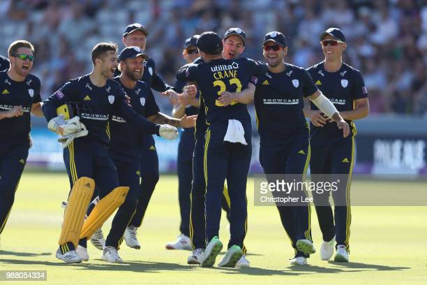 Mason Crane is congratulated by his team mates after running out Alex Blake of Kent during the Royal London OneDay Cup Final match between Kent and...
