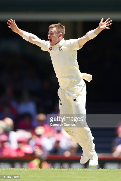Mason Crane of England appeals for the wicket of Usman Khawaja of Australia during day three of the Fifth Test match in the 2017/18 Ashes Series...