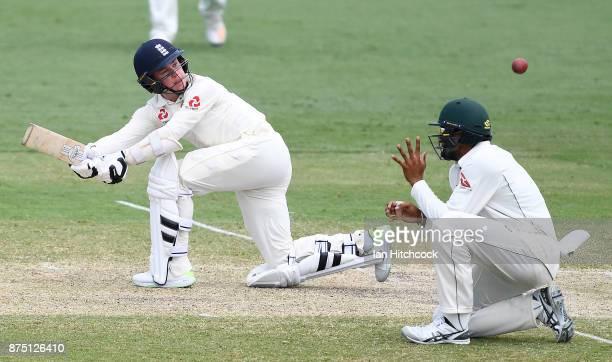 Mason Crane of England bats on day 3 of the four day tour match between Cricket Australia XI and England at Tony Ireland Stadium on November 17 2017...