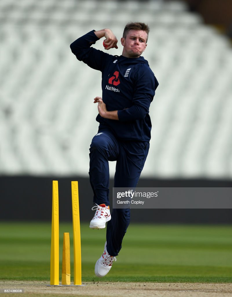 Mason Crane of England bowls during a nets session at Edgbaston on August 16, 2017 in Birmingham, England.