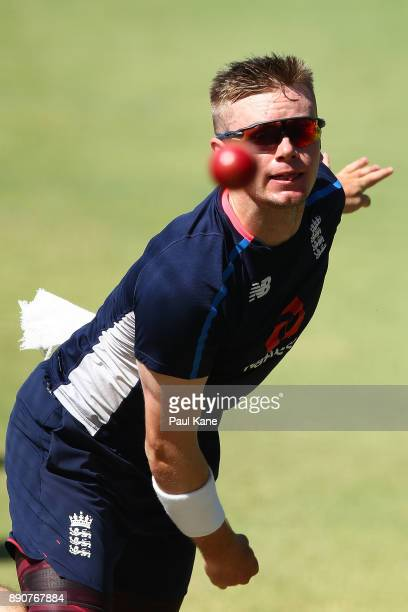 Mason Crane of England bowls during an England nets session ahead of the Third Test in the 2017/18 Ashes series at WACA on December 12 2017 in Perth...