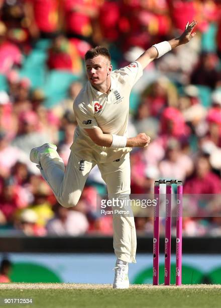 Mason Crane of England bowls during day three of the Fifth Test match in the 2017/18 Ashes Series between Australia and England at Sydney Cricket...