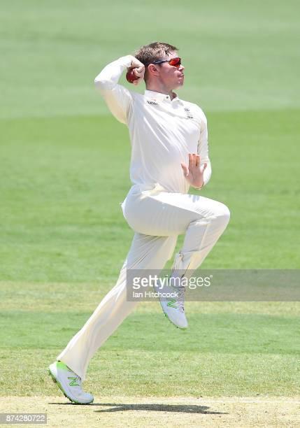 Mason Crane of England bowls during the four day tour match between Cricket Australia XI and England at Tony Ireland Stadium on November 15 2017 in...