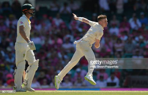 Mason Crane of England bowls during the third day of the fifth Ashes cricket test match between Australia and England at the Sydney Cricket Ground on...