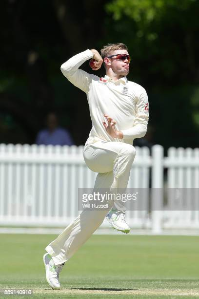 Mason Crane of England bowls during the Two Day tour match between the Cricket Australia CA XI and England at Richardson Park on December 10 2017 in...