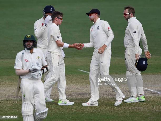 Mason Crane of England celebrates after taking the wicket of Jason Sangha of CA XI during day 4 of the four day tour match between Cricket Australia...
