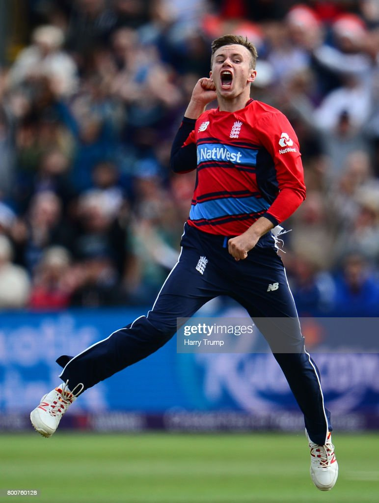 Mason Crane of England celebrates the wicket of AB De Villiers of South Africa during the 3rd NatWest T20 International between England and South Africa at the SWALEC Stadium on June 25, 2017 in Cardiff, Wales.