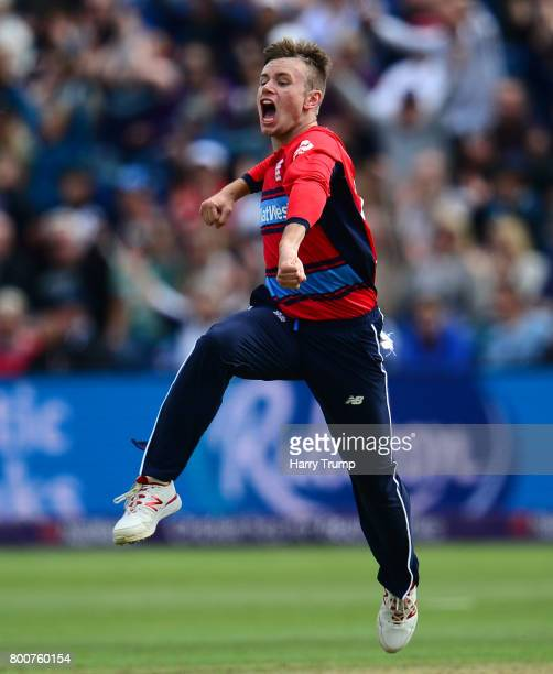 Mason Crane of England celebrates the wicket of AB De Villiers of South Africa during the 3rd NatWest T20 International between England and South...