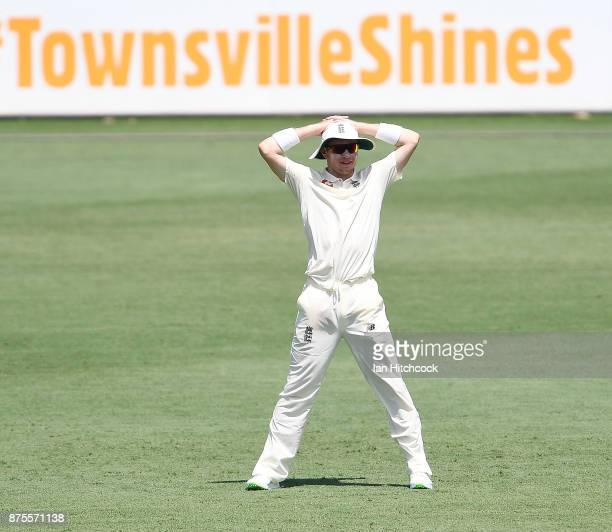 Mason Crane of England looks on during day 4 of the four day tour match between Cricket Australia XI and England at Tony Ireland Stadium on November...