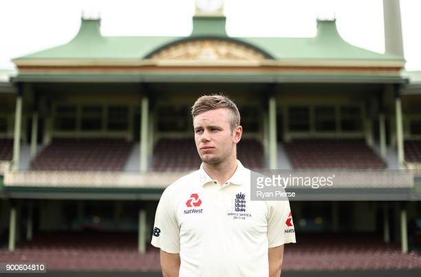 Mason Crane of England poses after the England Test team photo session at Sydney Cricket Ground on January 3 2018 in Sydney Australia