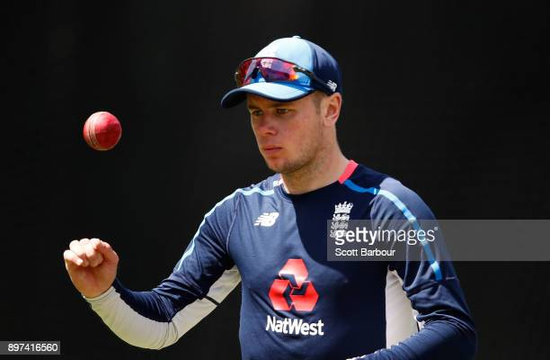 Mason Crane of England prepares to bowl during an England nets session at the Melbourne Cricket Ground on December 23 2017 in Melbourne Australia
