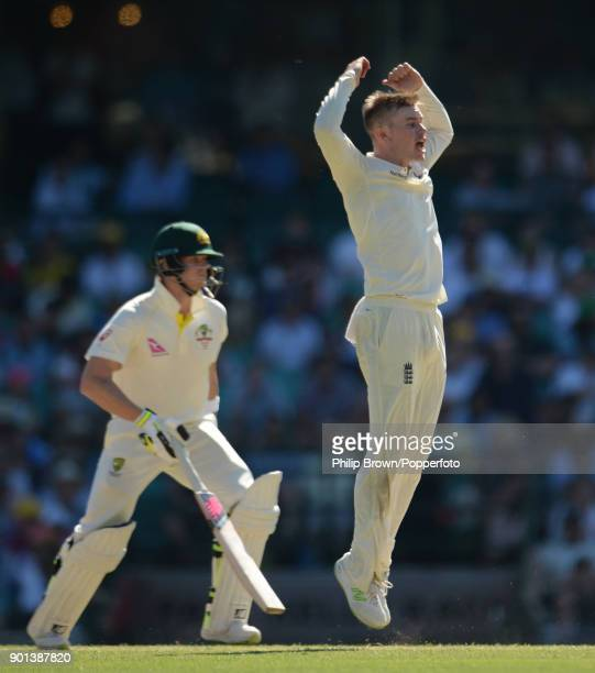 Mason Crane of England reacts during day two of the Fifth Test match in the 2017/18 Ashes Series between Australia and England at the Sydney Cricket...