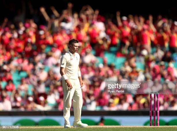 Mason Crane of England reacts while bowling during day three of the Fifth Test match in the 2017/18 Ashes Series between Australia and England at...