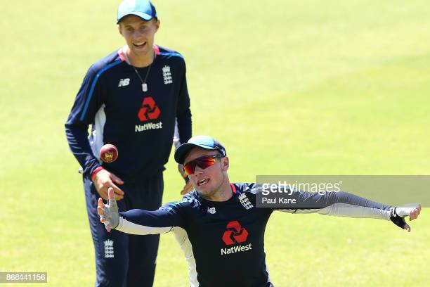 Mason Crane of England works on a catching drill during an England training session at the WACA on October 31 2017 in Perth Australia England are in...