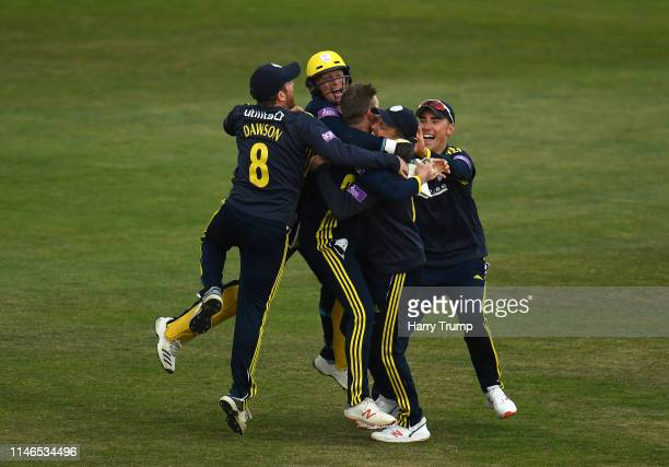 Mason Crane of Hampshire celebrates after taking the final wicket of Mir Hamza of Sussex to win the match during the Royal London One Day Cup match...