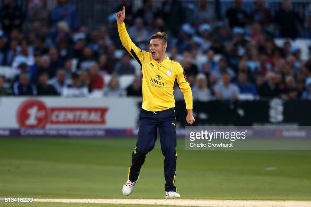 Mason Crane of Hampshire celebrates after taking the wicket of Ross Taylor of Sussex during the NatWest T20 Blast match between Sussex Sharks and...