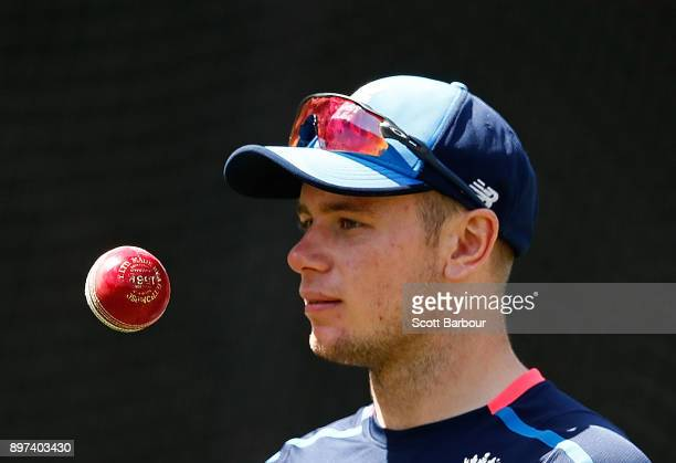 Mason Crane prepares to bowl during an England nets session at the Melbourne Cricket Ground on December 23 2017 in Melbourne Australia