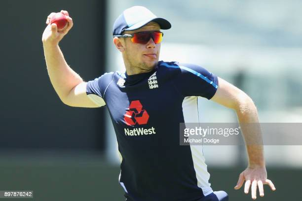 Mason Crane throws the ball during an England nets session at the Melbourne Cricket Ground on December 24 2017 in Melbourne Australia